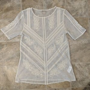 Lucky Brand Sheer Blouse with Design Small